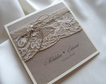 Rustic Wedding Invitation,Vintage Lace Wedding Invitation, Kraft Wedding Invitation, Eco Invitations