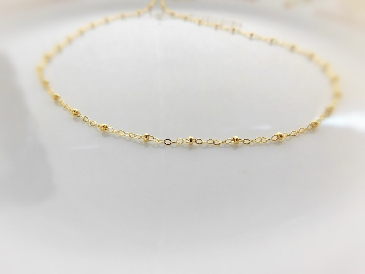 gold beaded choker satellite necklace 14k gold filled. Black Bedroom Furniture Sets. Home Design Ideas