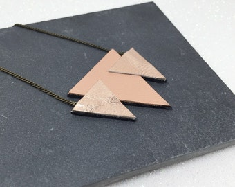"Necklace ""Gastine"" pale pink leather triangles"