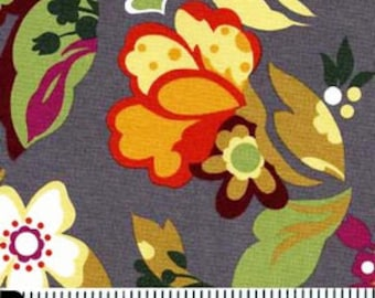 Steel Grey Large Floral for Rooftop Garden by Moda Fabrics REMNANTS