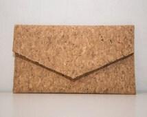Cork Clutch Eco Friendly Purse Vegan bag Handmade bag Gift for Her Vegan Gift Cork Bag Cork Purse Unique bag