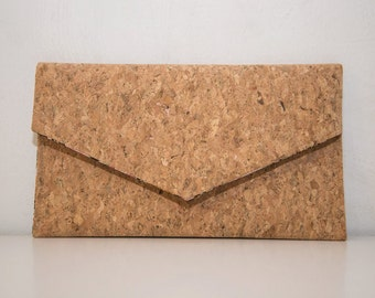 Cork Clutch-Eco Friendly Purse-Vegan bag-Handmade Bag-Gift for Her-Vegan Gift-Cork Bag-Cork Purse-Unique bag-Valentine's Gift-Envelope Bag