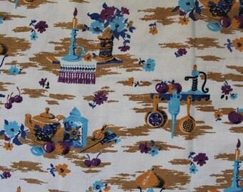 Vintage Soviet Linen Fabric, Russian Kitchen Still Life Retro Fabric