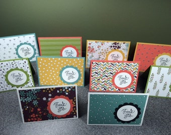 """Handmade Set of 10 Thank You Cards StampIn' Up! 4 7/8"""" X 3 1/4"""""""