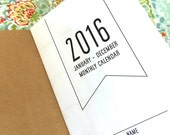 2016 MONTHLY Dated Calendar - Available in 5 sizes
