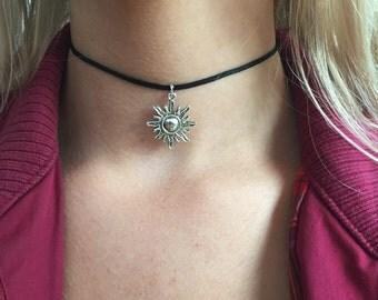 Sunshine choker necklace on black cord 90s choker