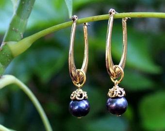Gold Hoop Dangle Earrings.Tahitian Black Pearl Drop.Beadcap plated in 24K Gold.Valentine.Mother's.Bridal.Birthday.Graduation.Gift.Handmade.