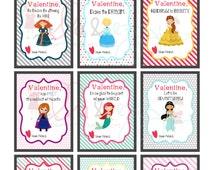Printable Valentines, disney princess Printable Valentines, Princess Cards, Princess Instant Download, Princess PDF, Kids Valentines