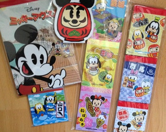 20 x Disney Mickey Minnie Mouse Gotochi and Japan Exclusive Kawaii Memo Sheets + Sticker Flakes