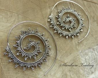 Tribal Spiral Earrings, Sterling Silver Spiral Earrings, Tribal Jewellery, Spiral Earrings, Hoop Earrings, Gypsy Earrings, Indian Earrings