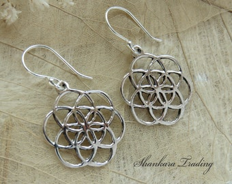 Flower Of Life Silver Earrings, Sacred Geometry Earrings, Silver Tribal Earrings, Yoga Jewelry, Sterling Silver Ethnic Earrings, Boho Hippie