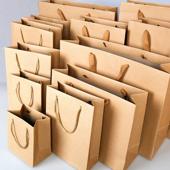 10 x Kraft Paper Bags with Handle / Kraft Shopping Bags / Weddings ...