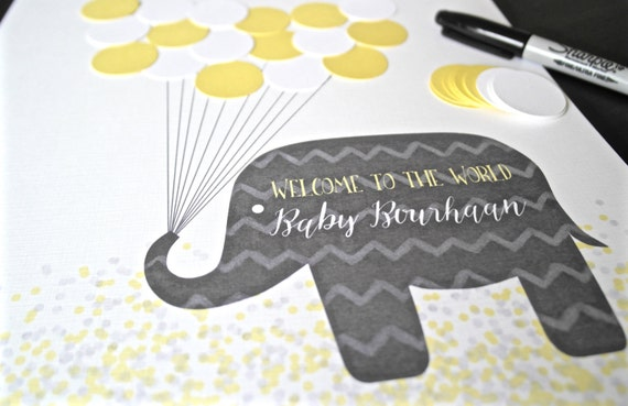 Yellow And Grey Baby Shower Decorations Yellow Elephant Baby
