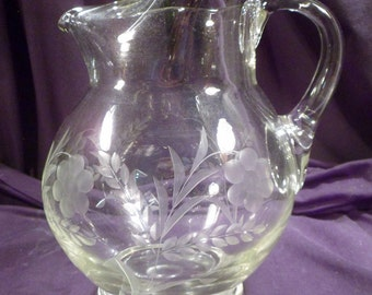 Hand-Made Glass Pitcher with Ice Lip, Daisy Etching, Applied Handle