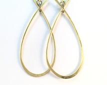 Teardrop Hoop Earrings in Brass, Copper, & Silver