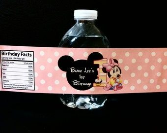 Minnie Mouse 1st Birthday Water Bottle Labels