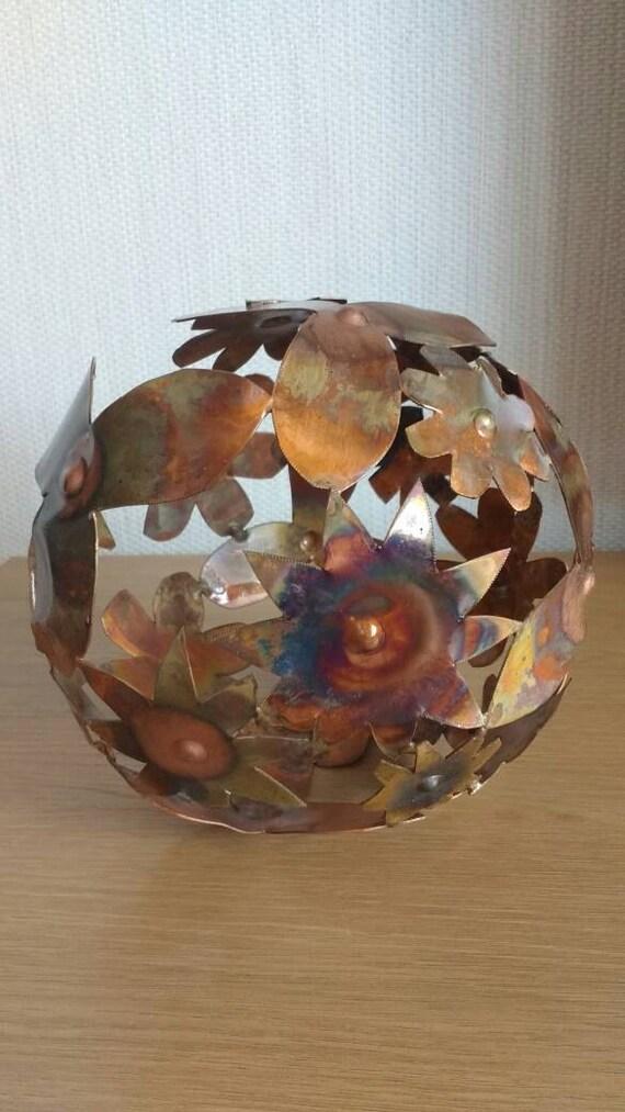 Copper flower ball sculpture decoration
