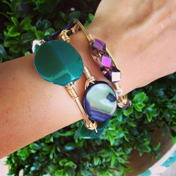 Jade Natural Stone, Stackable Bangles, Wire Wrap, Navy Mother of Pearl, Electroplated Faceted Glass, Beautiful Large Stones, Bracelets