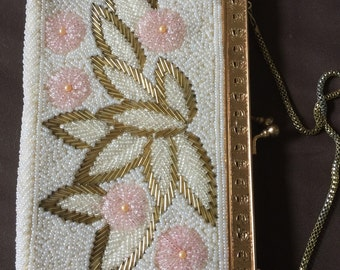 Vintage Pink Gold White Beaded Purse Bag