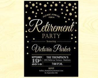 Retirement Party Invitation / Black Gold / Digital Printable Invitation / DIY