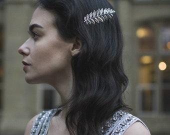 Silver Laurel Leaf Hair Comb Vintage Grecian Olive Roman Flapper 1920 Bridal V01
