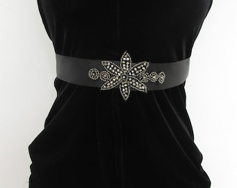 Black Charcoal Beaded Belt 1920s Flapper Prom Great Gatsby Vintage Satin 30s 5AQ