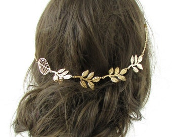 Gold Leaf Hair Clips Chain Vine Grecian Festival Headband Headpiece Vtg Boho 529
