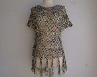 Gold and Blue Poncho