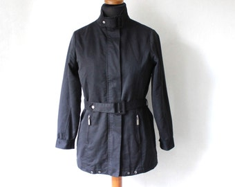 Vintage Black Windbreaker Women Jacket Waterproof Lightweight Parka Coat Medium Size