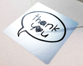 "60 x SILVER FOIL ""Thank You"" Shipping Labels Scrapbook Stickers Seals #10S"
