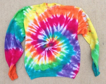 Tie Dye Crew Neck - Sweatshirt - Rainbow Tie Dye - Handmade - Michigan Made - Hippie