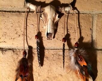 Bull skull, bohemian, wall decor
