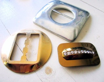 Lot of 3 Large Vintage Metal Belt Buckles - Gold - Silver - Rhinestone - Hipster - Costume - Square - Round - Rectangle - Trio - Glam