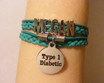 Diabetic bracelet, diabetic jewelry, Type 1 diabetic bracelet, Type 1 diabetic jewelry, medical id bracelet, medical id jewelry