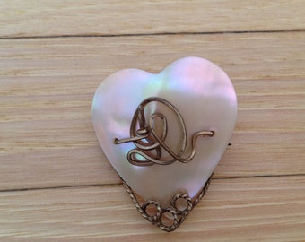 Vintage Mother of Pearl Heart Shaped Pin with Gold-Filled Embellishments