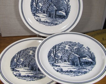 Blue and White Dinner Plates - Winter Homestead - Set of Three (3)