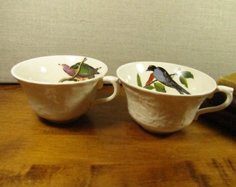 Vintage Hand Painted Bird Teacups - Set of Two (2)