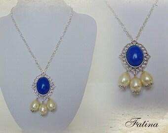"""Renaissance necklace """"Blue & White"""""""