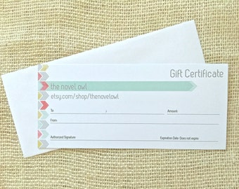 Gift Certificate - the novel owl - any amount