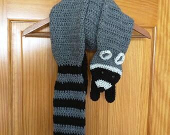 Crochet Raccoon Scarf