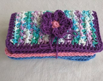 Crochet Spa/Wash Cloths, Set of 3, With Flower