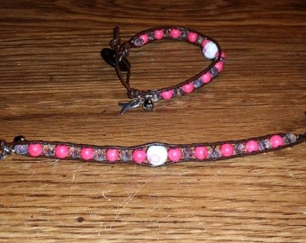 Brown Breast Cancer Awareness with Hot Pink and Crystal Bracelet