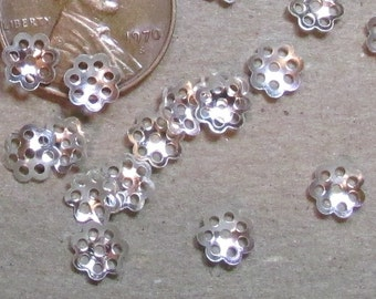 Silver Toned 6mm Filigree Style Lacy Little Bead Caps- Lightweight Stamped Metal (Iron based)-  Lots of 100 or 500