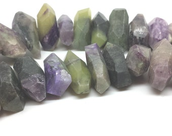 Purple Chariote with Green Serpentine Jade Ribbons, 1/2 strand