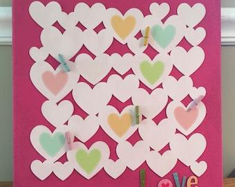 Decorative Cork Board; Picture Display Board; Pink cork board with hearts; Fun girls gift; Room wall decor; Picture board; 14 x 14