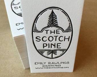 One color, one-sided, custom letterpress printed business cards