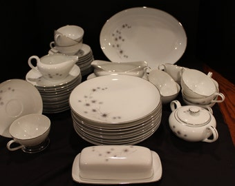 Vintage Service for 10 - Creative Fine China, Platinum Star Burst, #1014, Atomic Star, Midcentury Modern, Plus Complimentary Dishes (C141)