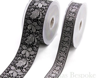 Black and Silver Floral Jacquard Trim in Two Widths, Made in Italy