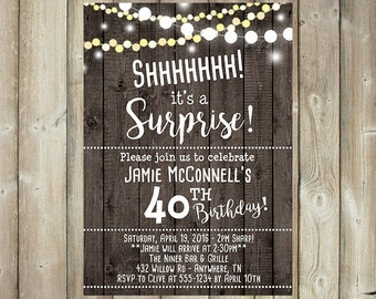 Adult Surprise Birthday Invitation - Shhhhh It's a Surprise - Custom Bday Invite - Wood Background - String Lights - DIGITAL FILE