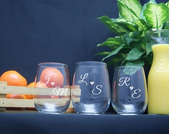 Personalized Stemless Wine Glasses / Monogram Glasses / Etched Glasses / Custom / Personalized Wine Glass / Select ANY QUANTITY